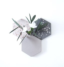 Hexagonal modular wall-mount vase with 2 terrazzo tiles