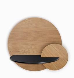 Table de chevet ALBA L ronde - chêne/noir