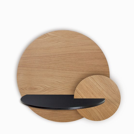 Table de chevet ALBA L ronde - chêne/noir - Design : WOODENDOT
