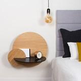 Table de chevet ALBA L ronde - chêne/noir 5