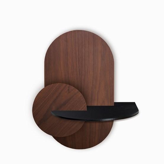 ALBA L Oval Bedside table - walnut/black - Design : WOODENDOT