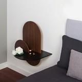 ALBA L Oval Bedside table - walnut/black 4