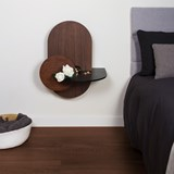 ALBA L Oval Bedside table - walnut/black 3