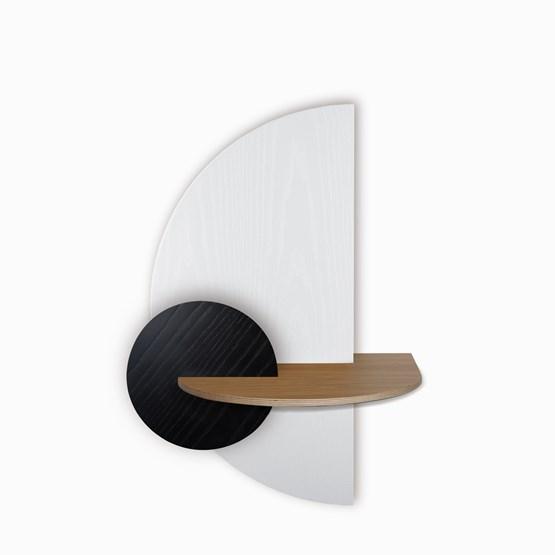 ALBA L Semi Circle Bedside table - oak/white/black - Design : WOODENDOT