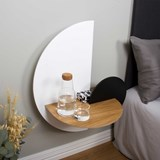 ALBA L Semi Circle Bedside table - oak/white/black 4