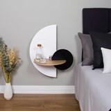 ALBA L Semi Circle Bedside table - oak/white/black 3