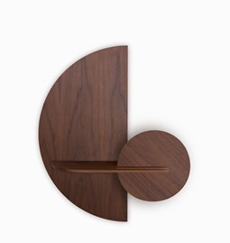 ALBA M Semi Circle Wall shelf - walnut