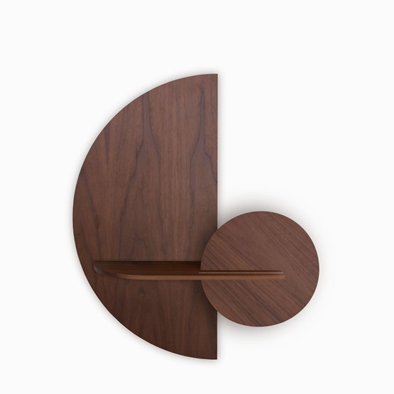 ALBA M Semi Circle Wall shelf - walnut - Design : WOODENDOT