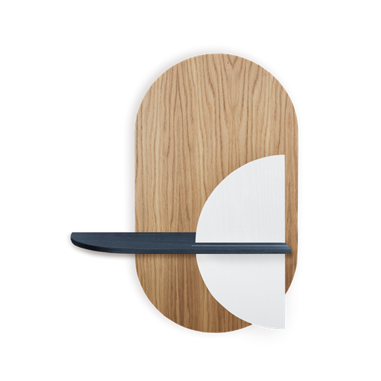 ALBA M Oval Wall shelf - oak/blue/white - Design : WOODENDOT
