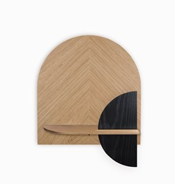 ALBA M Herringbone Wall shelf - oak/black