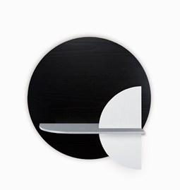 Etagère murale ALBA M ronde - noir/gris/blanc