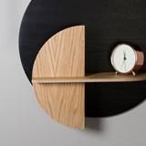 ALBA M Circle Wall shelf - black/oak 5