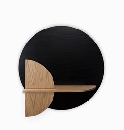ALBA M Circle Wall shelf - black/oak