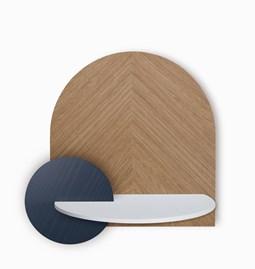 Table de chevet ALBA L - chêne/blanc/bleu