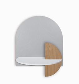 Table de chevet ALBA L - gris/blanc/chêne