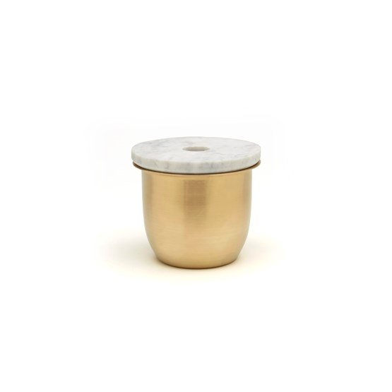 C3 Small Container in Brass with Marble Lid - Design : Grace Souky