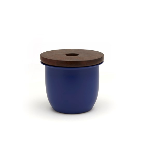 C3 Small Container Blue with Wood Lid - Design : Grace Souky