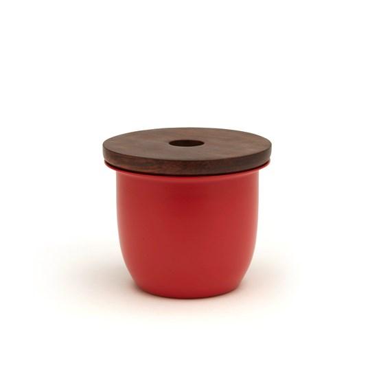 Récipient rouge et couvercle en bois C3 - Design : Grace Souky
