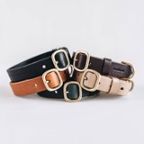 FIR leather dog collar - latte 3