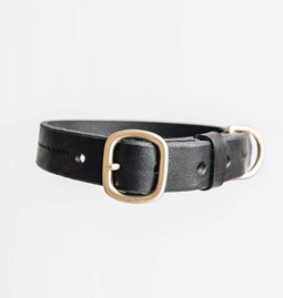 FIR leather dog collar - black