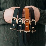 FIR leather dog collar - latte 2