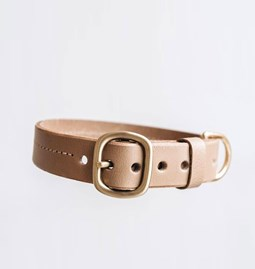FIR leather dog collar - latte