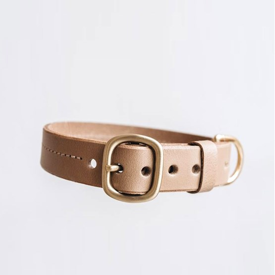 FIR leather dog collar - latte - Design : Band&roll
