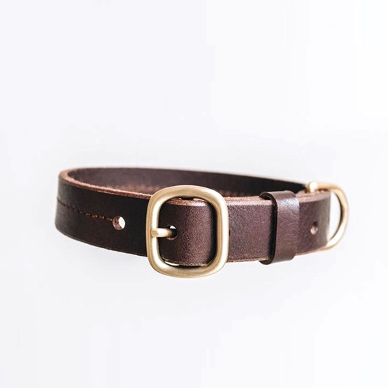 FIR leather dog collar - brown - Design : Band&roll