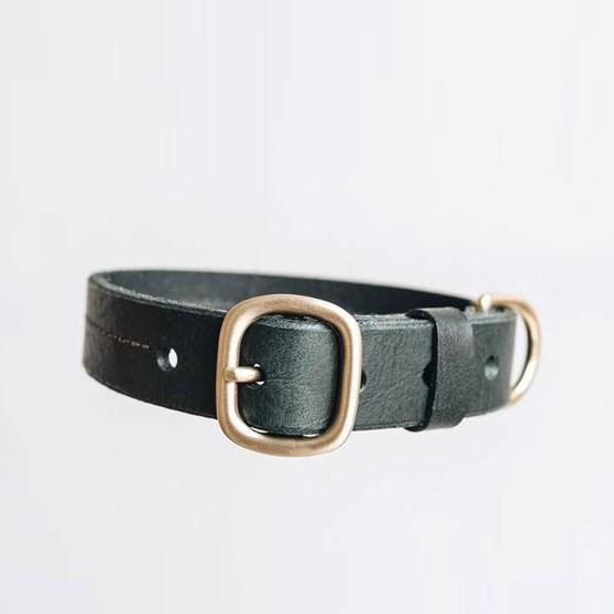 FIR leather dog collar - green - Design : Band&roll