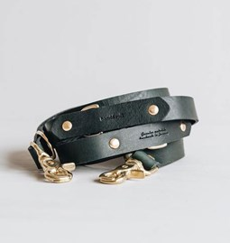 LASSO Dog leather leash - green