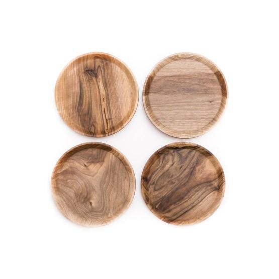 OSTE circle serving plate - walnut wood in warm tones - Design : TU LAS
