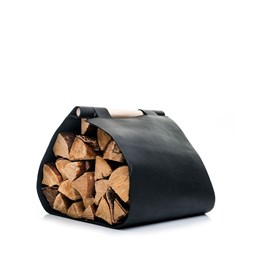 Leather Wood Carrier - black