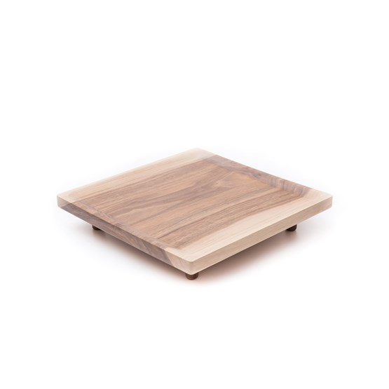 Plateau carré OSTE - noyer tons froids - Design : TU LAS