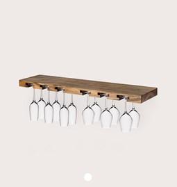 MODEL B12 glass rack - one piece walnut wood