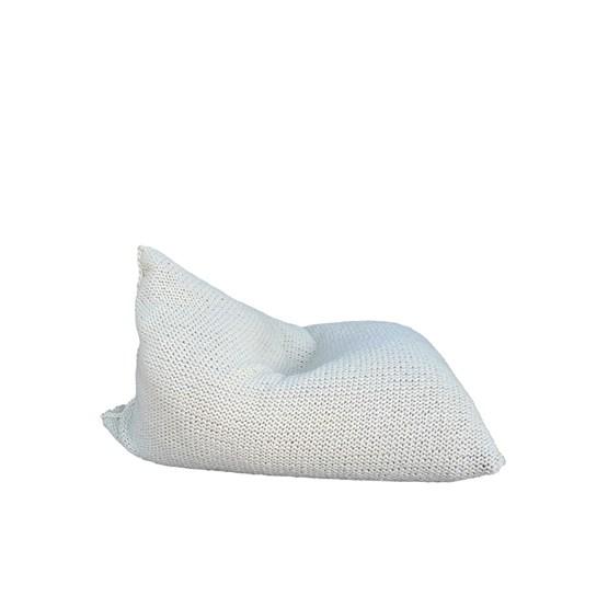 Pouf poire en laine tricotée - blanc - Design : SanFates