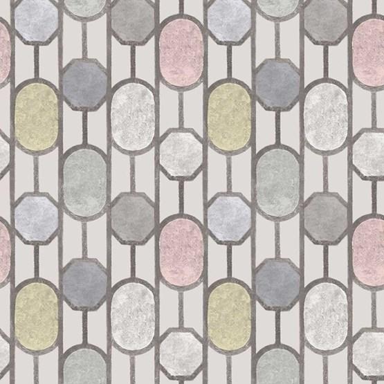 Papier peint ESTE, fond gris clair - Design : Tenue de Ville