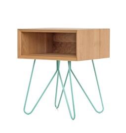 Table d'appoint NOVE -  chêne massif et piètement bleu