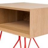 Table d'appoint NOVE -  chêne massif et piètement rouge 3