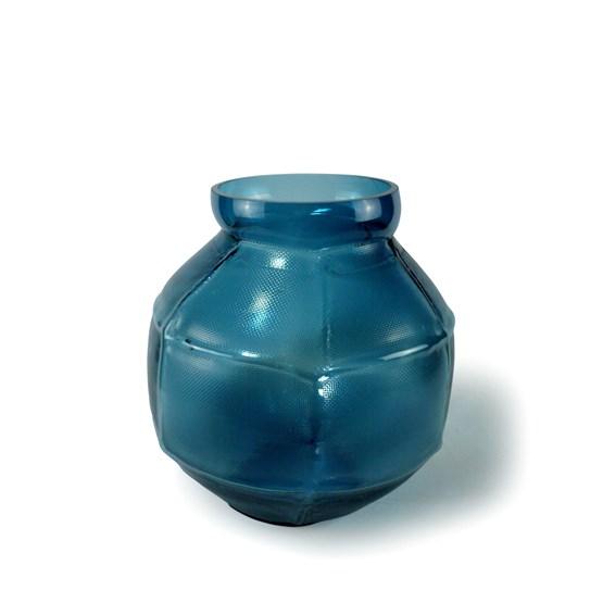 Vase rond TRACE - duck blue - Design : Vanessa Mitrani