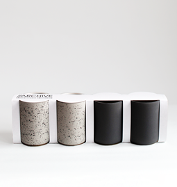 Set of 4 coffee cups | dark grey & speckled