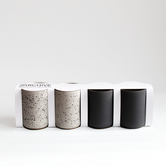 Set de 4 tasses à café | gris anthracite & moucheté - Design : Archive Studio