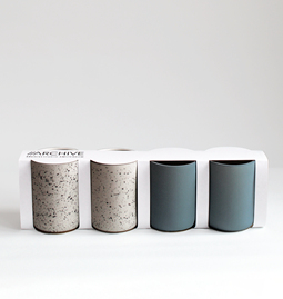 Set of 4 coffee cups | teal & speckled