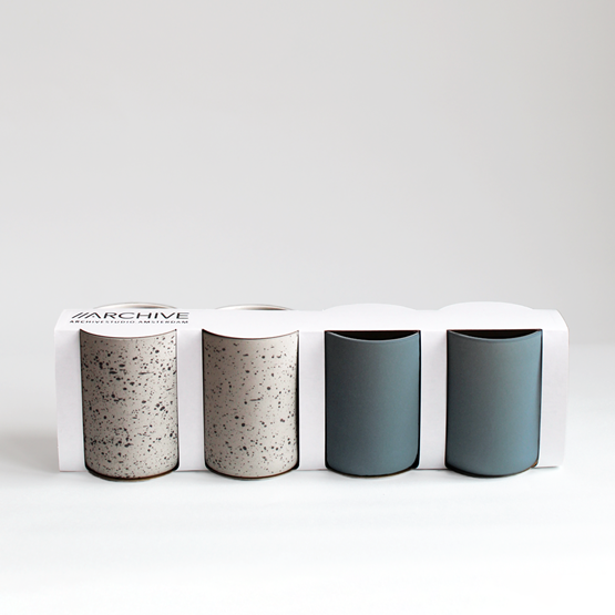 Set of 4 coffee cups | teal & speckled - Design : Archive Studio