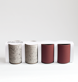 Set of 4 coffee cups | terracotta & speckled