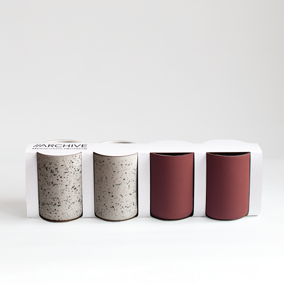 Set of 4 coffee cups | terracotta & speckled  - Design : Archive Studio