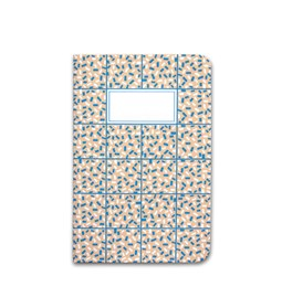 A5 notebook singer stitching - coral & blue