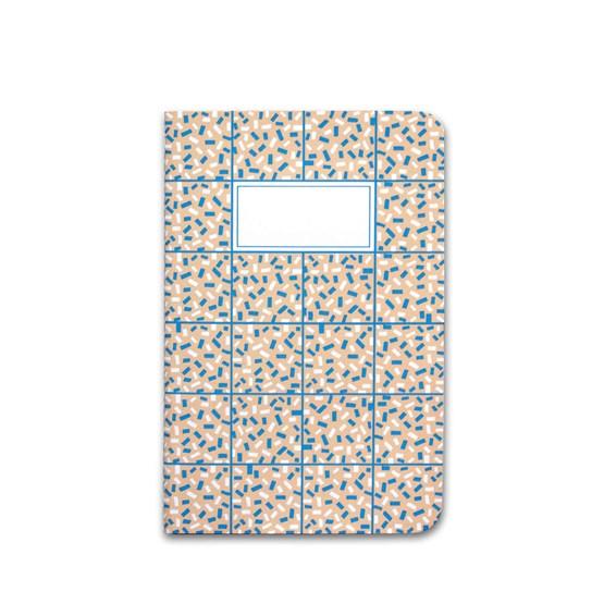 Carnet A5 relié couture - corail & bleu - Design : Coco Brun x Beauregard Studio