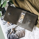 """1966"" Classic bifold leather wallet - olive green 5"
