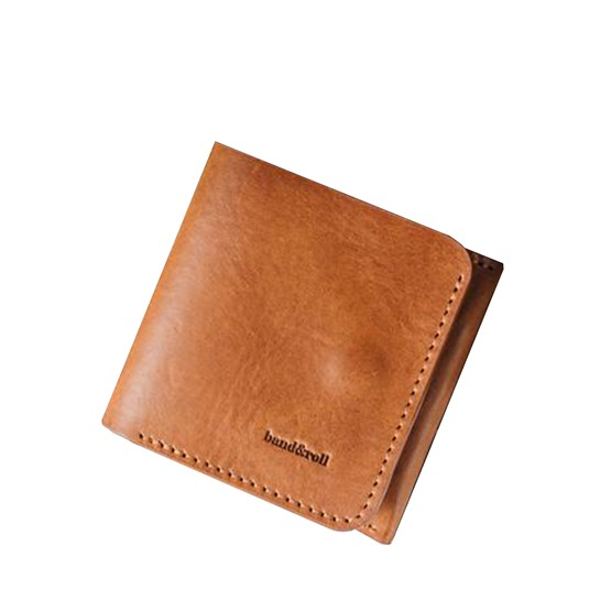 """1966"" Classic bifold leather wallet - tan - Design : band&roll"
