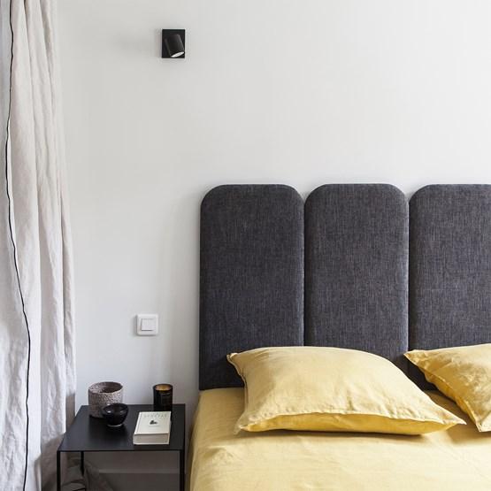 Headboard PAN – Grey Charcoal - Velvet Palma - Design : Nuée Édition